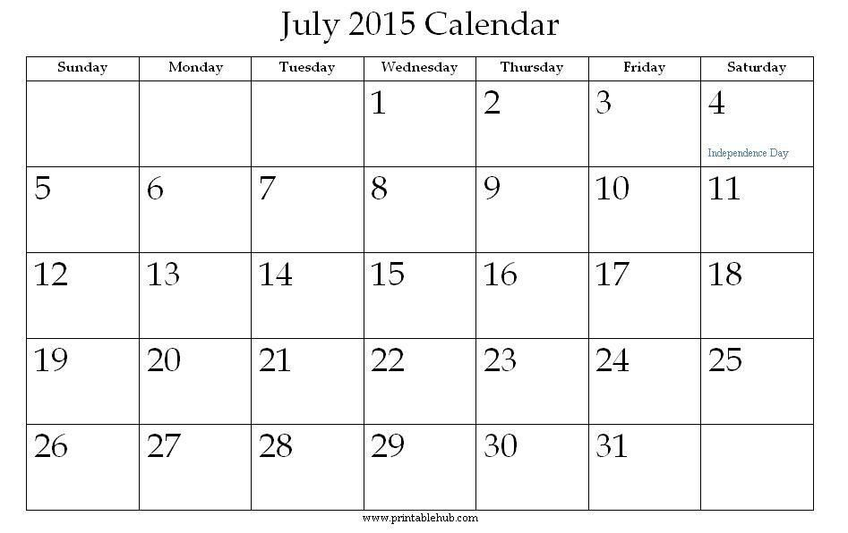 July Printable Calendars | weekly calendar template