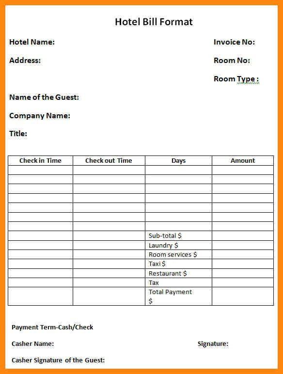 5+ bill hotel format in word | nurse resumed