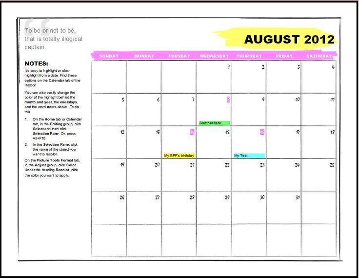 Microsoft Office Weekly Calendar Template | Samples.csat.co