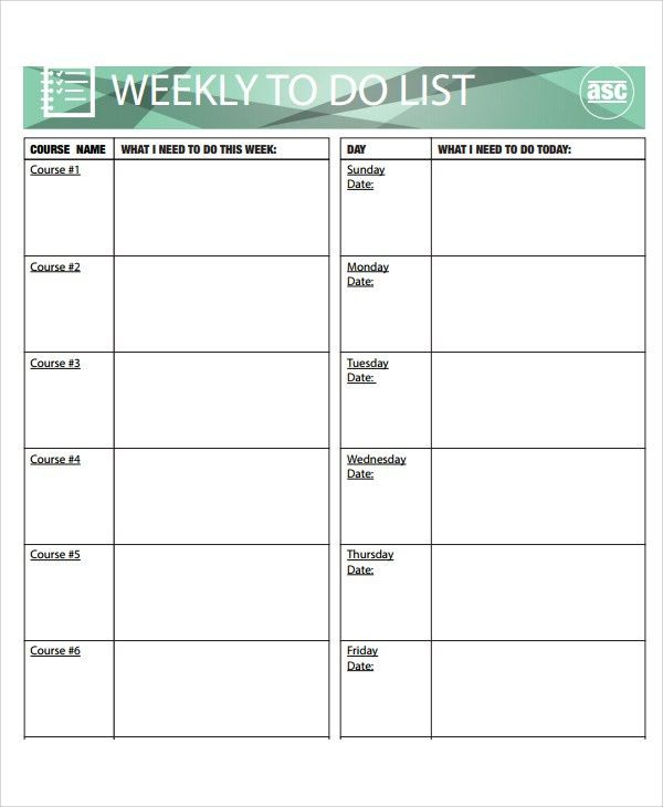 Sample Weekly To Do List Template - 8+ Free Documents Download in PDF