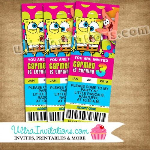 Spongebob SquarePants Concert Ticket Invitations Printable File or ...