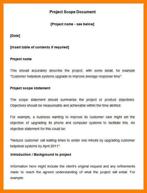 8+ example of project scope statement | packaging clerks