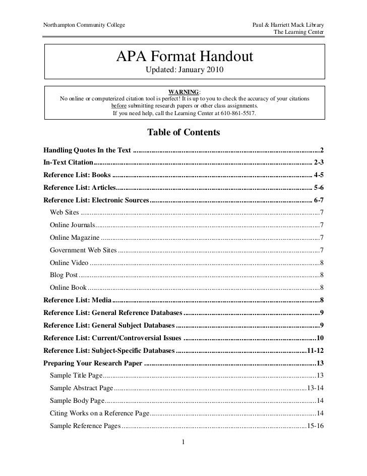 6th Edition Apa Template - Contegri.com