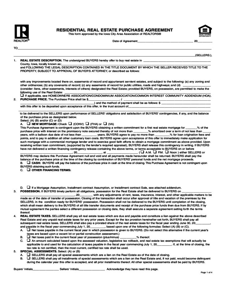 Residential Real Estate Purchase Agreement - Iowa Free Download