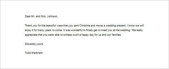 Wedding Thank You Letter – 11+ Free Word, Excel, PDF Format ...