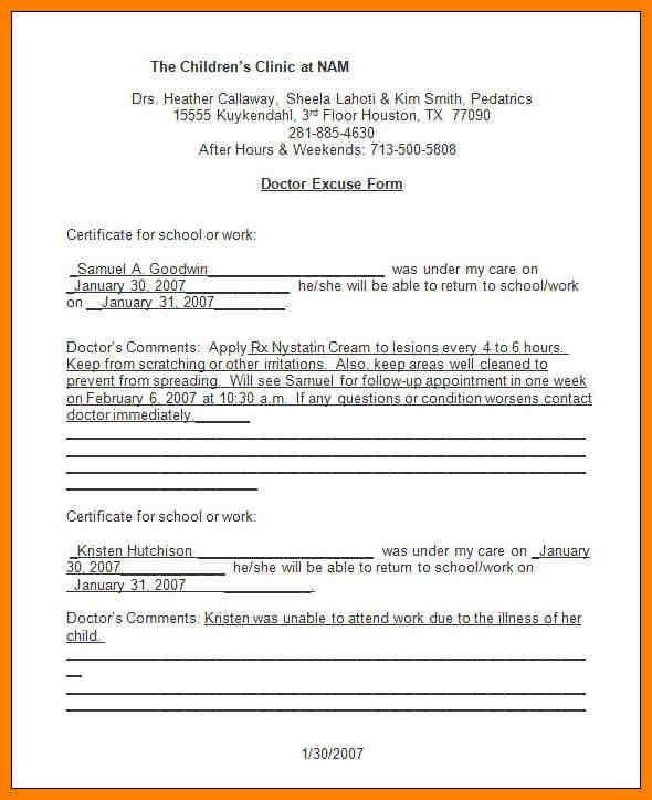 5+ urgent care doctors excuse | resume emails
