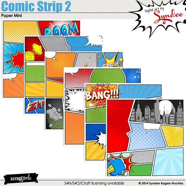 Digital scrapbooking kit ScrapSimple Paper Templates: Comic Strip ...