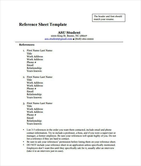 Job References Template - Business Plan Template