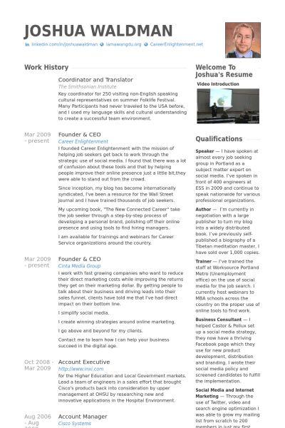 Translator Resume samples - VisualCV resume samples database