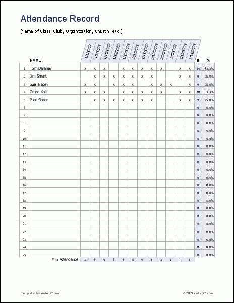 Free Download Attendance Sheet Template Example for Organization ...