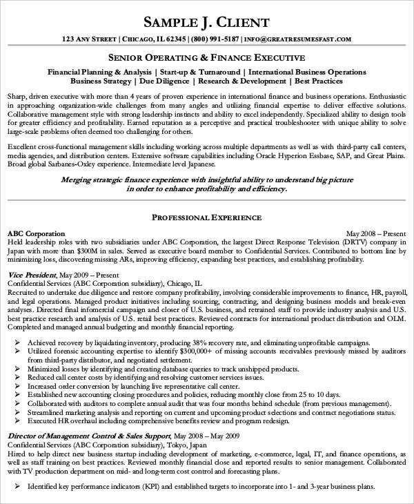 senior executive resume samples resume sample 8 senior executive