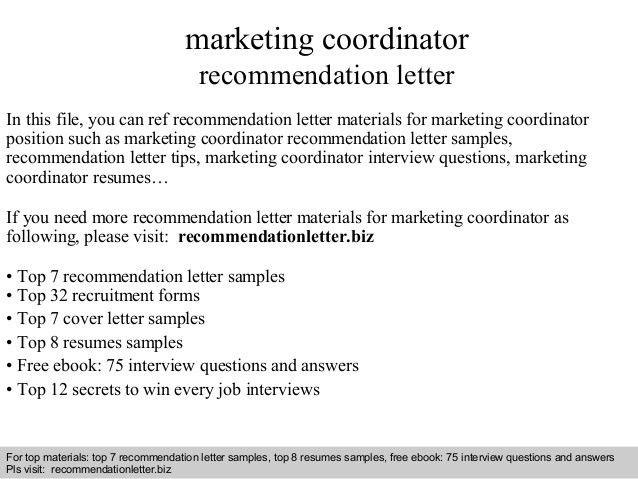 Marketing coordinator recommendation letter