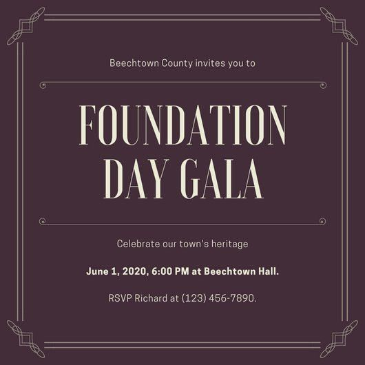 Brown Bordered Gala Invitation - Templates by Canva