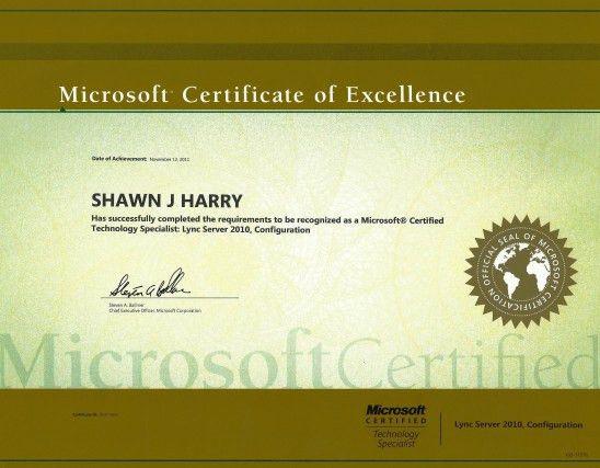 Shawn Harry | Microsoft Certified Technology Specialist