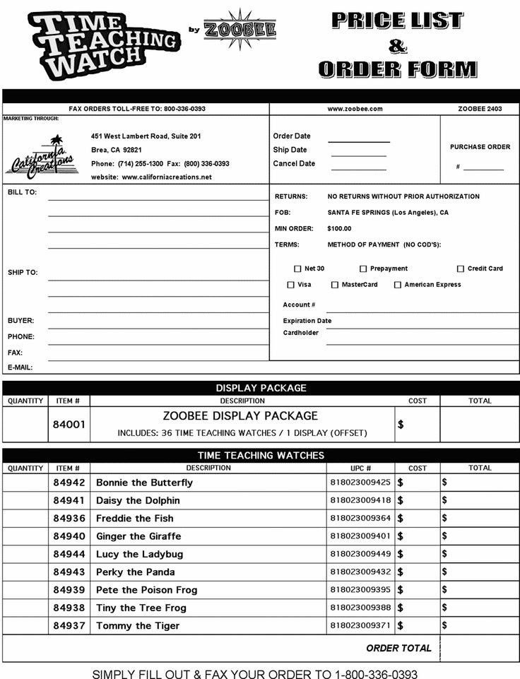 Wholesale Order Form Template | Template Design