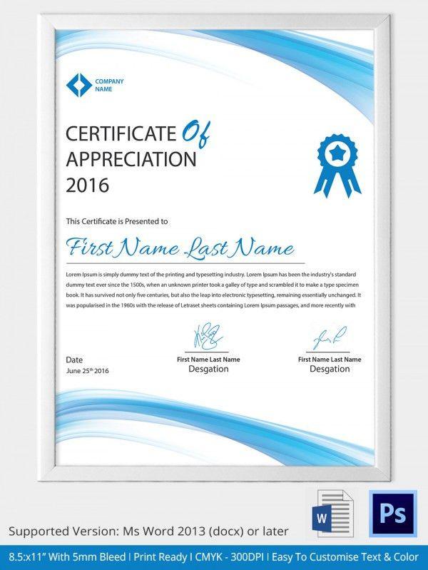 18+ Template Of Certificate Of Appreciation   Certificate Of ...