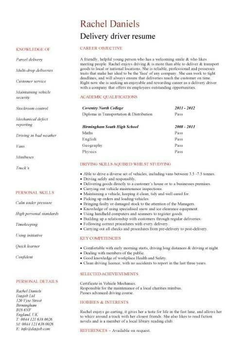 Unforgettable Delivery Driver Resume Examples To Stand Out Sample ...
