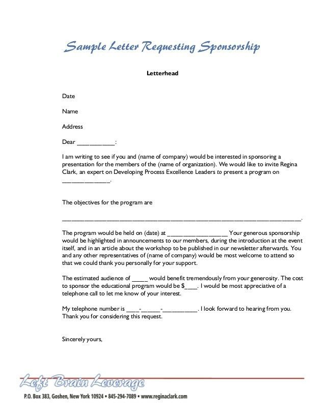 Writing A Sponsor Letter Sponsorship Proposal Strategies For – Writing a Sponsorship Proposal Letter