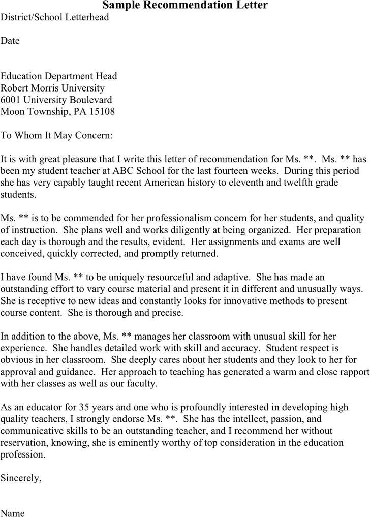 Recommendation Letter For College. Personal Letter Of ...