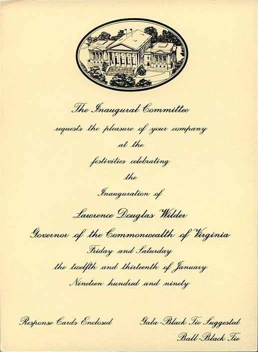 Invitation from the 1990 Inaugural Committee, Commonwealth of ...