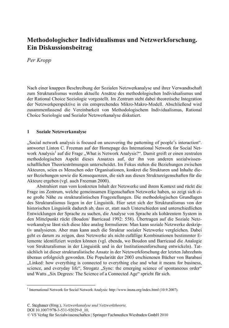 Methodologischer Individualismus und Netzwerkforschung. Ein ...