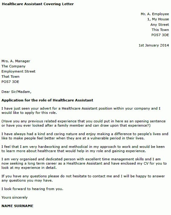 Healthcare Assistant Cover Letter Example - forums.learnist.org