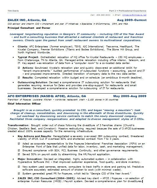 Resume Samples Chief Information Officer CIO E-Commerce -