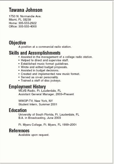 how to write a basic resumes