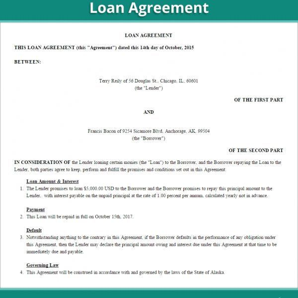 Loan Agreement Form | Create Free Loan Agreement Contract (Us with ...