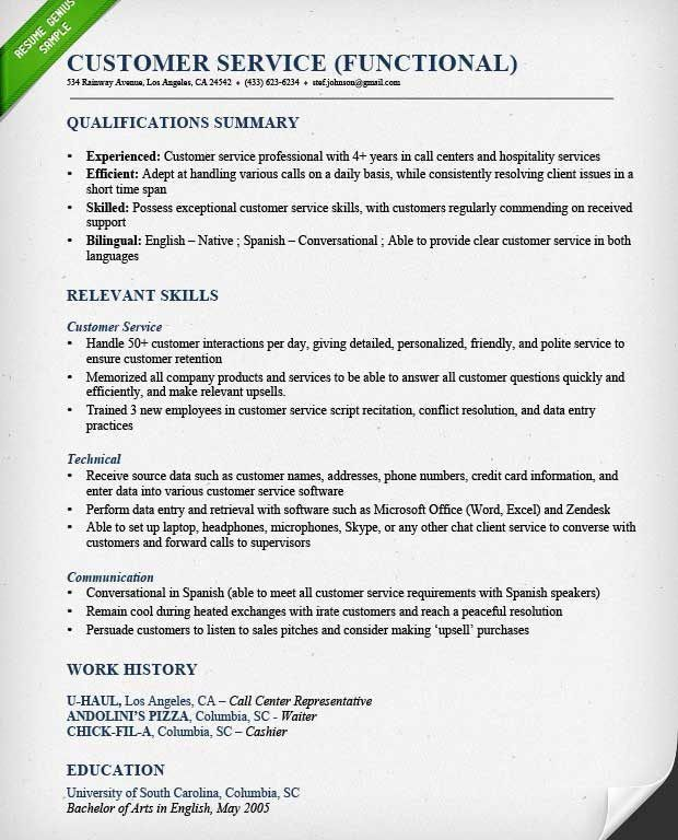 customer service skills resume example customer service resume