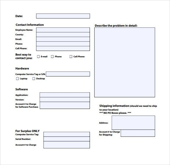 Sample Computer Service Request Form - 12+ Download Free Documents ...
