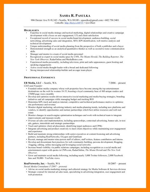 Social Media Resume Skills. social media resume sample resume ...