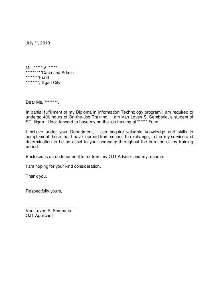 Application letter for OJT
