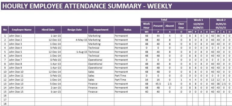 Attendance Spreadsheet Template Samples For Classroom Or Office ...
