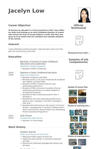 resume for student teaching