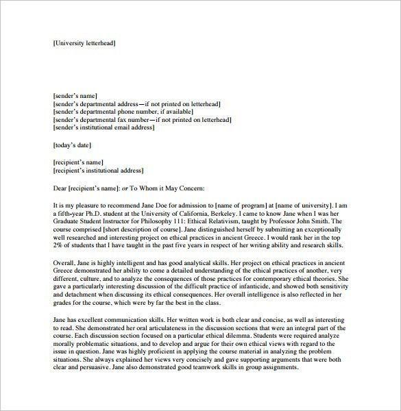 Sample Personal Letter Of Recommendation For College Student ...