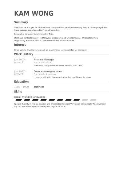 Finance Manager Resume samples - VisualCV resume samples database