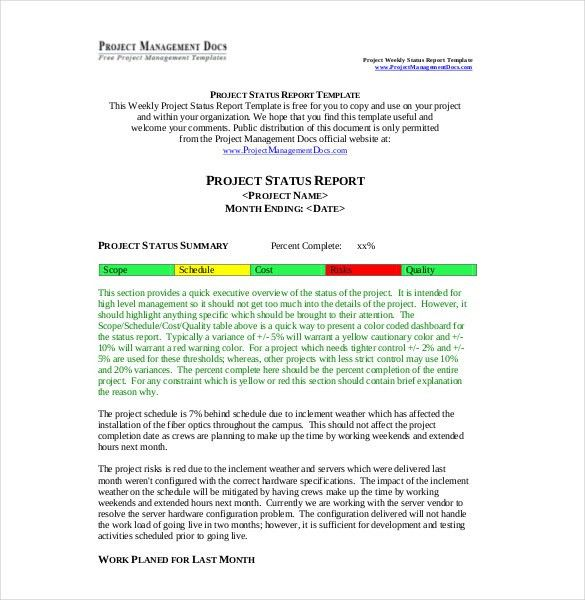 9+ Weekly Report Templates - Free Sample, Example, Format Download ...