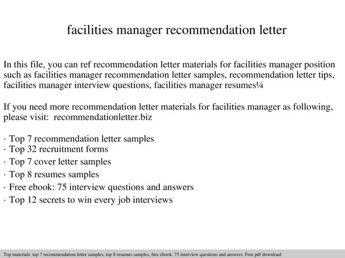 Facilities manager recommendation letter - Documents