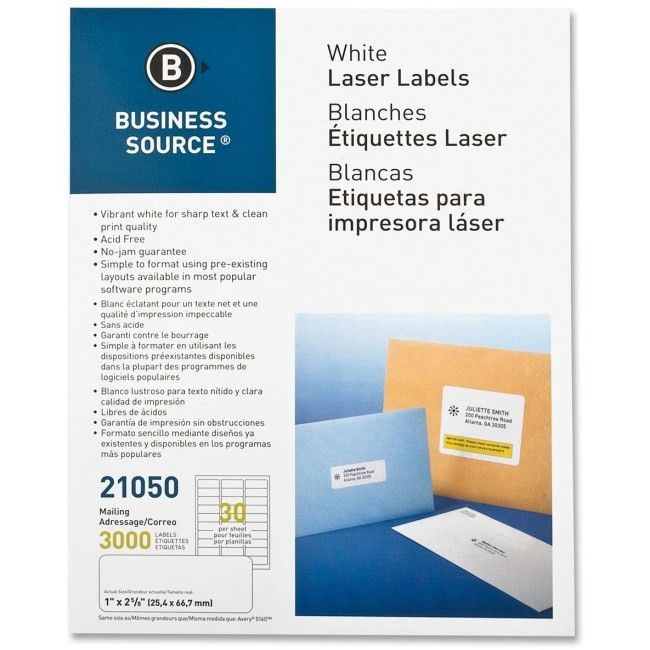 Business Source 21050 Perm. Adhesive Lsr Mailing Labels Permanent ...