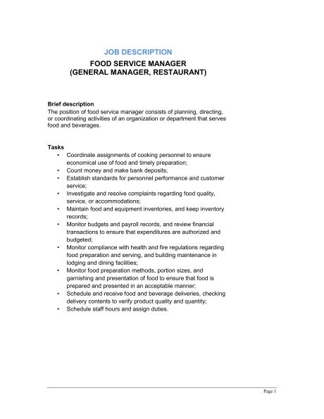 Food Service Manager (General Manager, Restaurant) Job Description ...