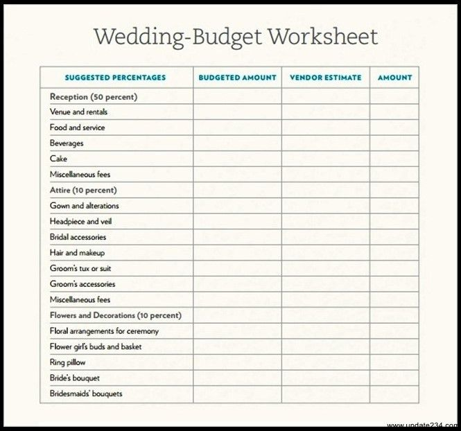 Sample Wedding Budget Template Download - Template Update234.com ...
