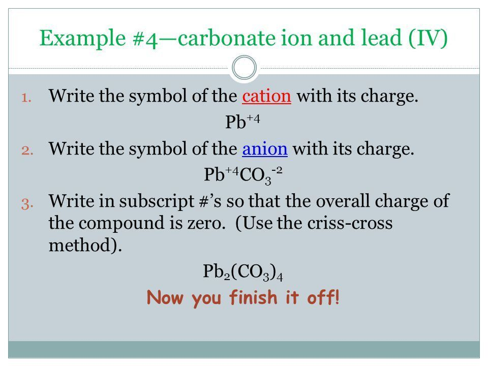 THREE EASY STEPS… Writing Chemical Formulas. 1. Write the symbol ...