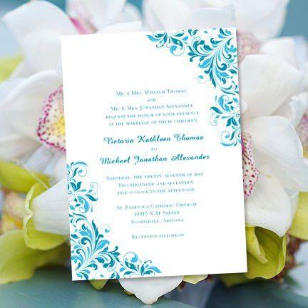 "Wedding Invitation Template ""Flourish"" Malibu Blue & Oasis ..."