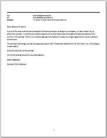 Email Template for an Invitation to a Software Technology Seminar ...