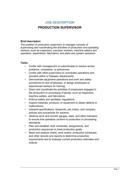 Production Supervisor Job Description - Template & Sample Form ...