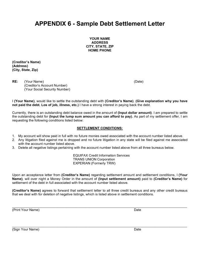 Debt Settlement Agreement Letter Template | Docoments Ojazlink
