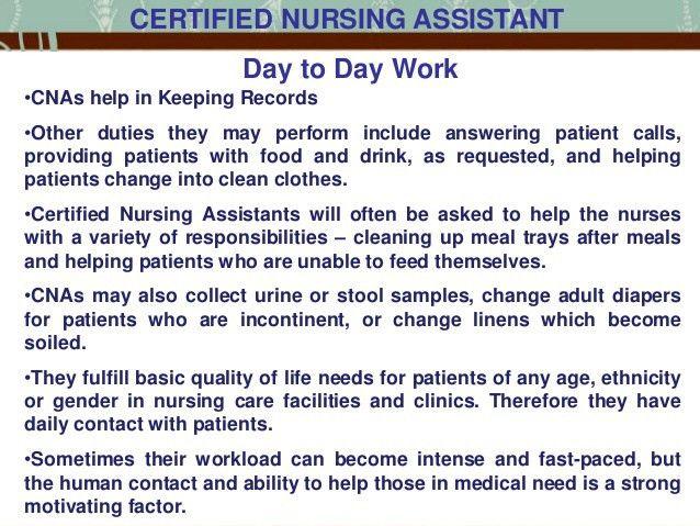 Certified Nursing Assistant Job Responsibilities Resume. cna tasks ...