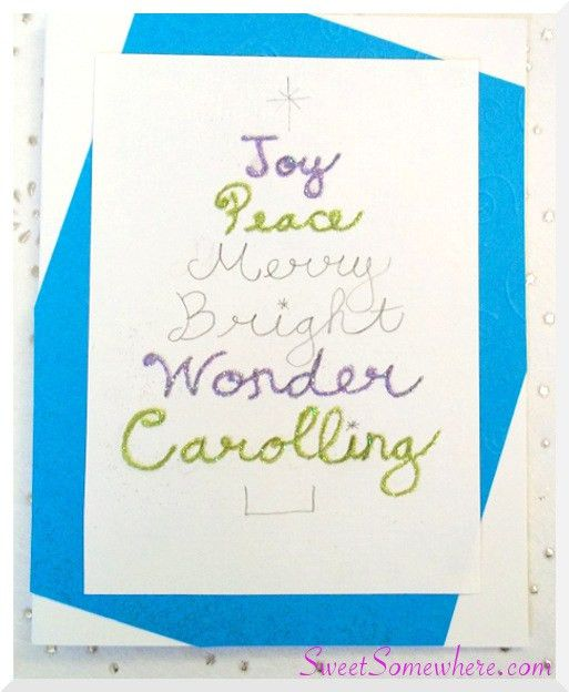 Easy Handmade Christmas Card with a Glitter Word Tree - SweetSomewhere