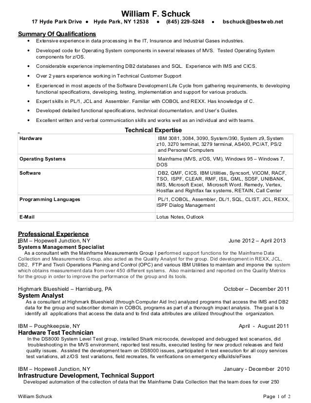 Mainframe Administration Sample Resume - uxhandy.com
